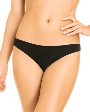 Mercerised cotton tanga briefs in black front by Hope Lingerie